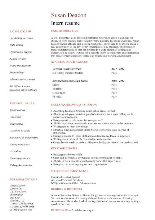 Student Entry Level Intern Resume Template