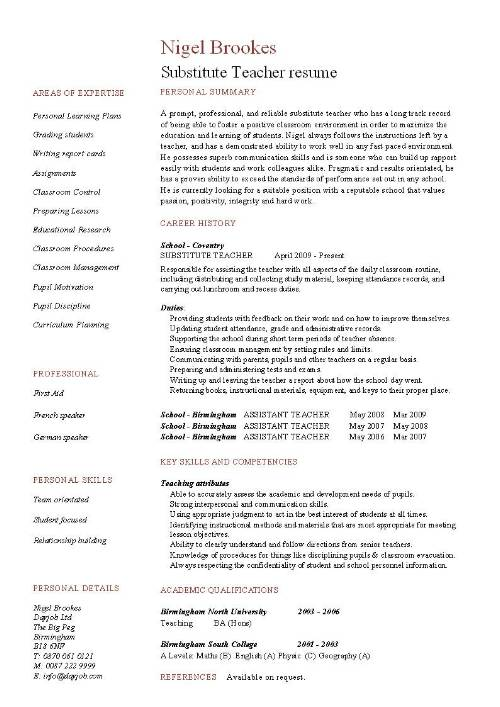 substitute teacher resume example  template  sample
