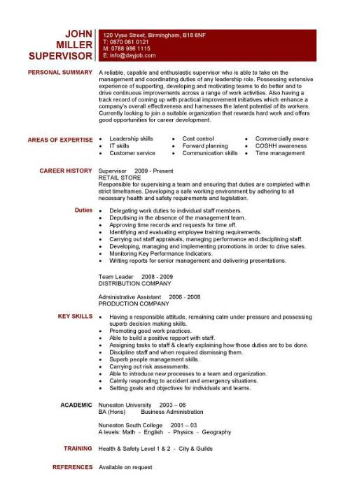 supervisor resume template