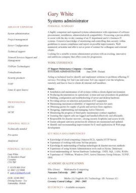 systems administrator CV template