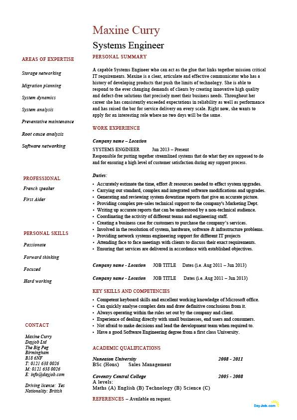 systems engineer resume  example  sample  it  security