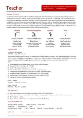 teacher CV 2 one page