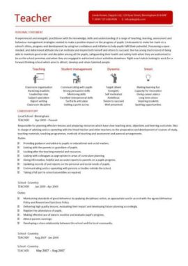 teacher CV 2 two page