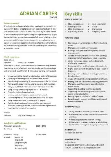 teacher CV example 3