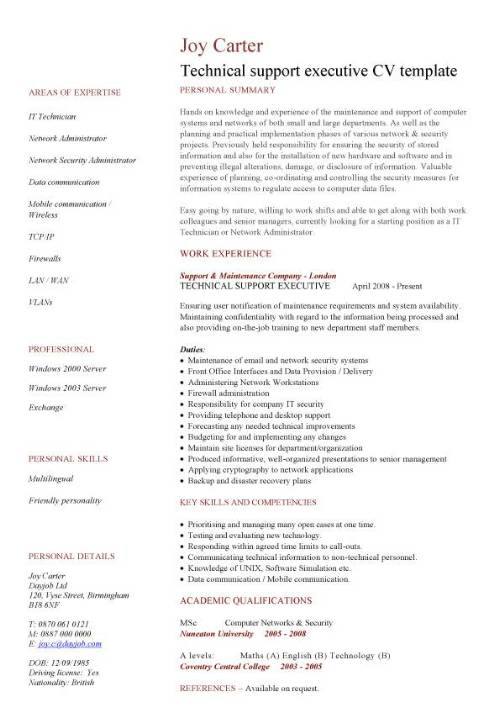 technical support executive cv sample  how to write a eye catching cv  jobs  resume