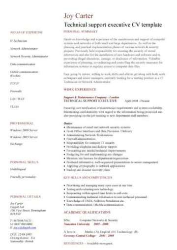 technical support executive CV template