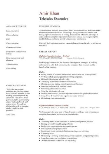 telesales CV example