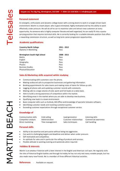student entry level telesales resume template