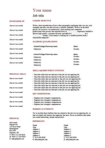 school leaver CV template