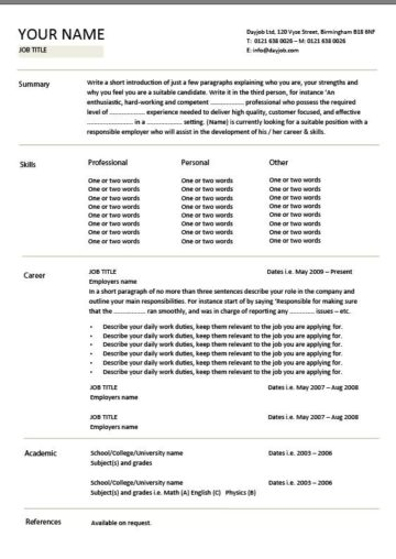 chronological CV template