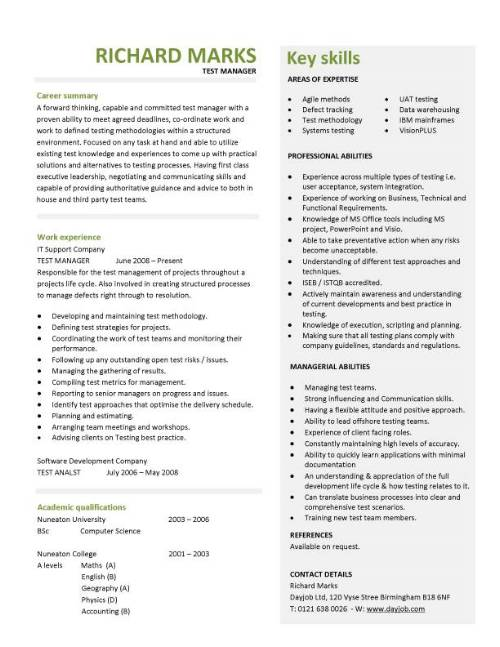 test manager cv template
