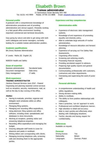 trainee administrator CV template