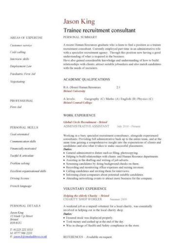 trainee recruitment consultant CV template