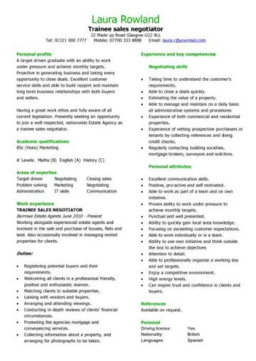 trainee sales negotiator CV template