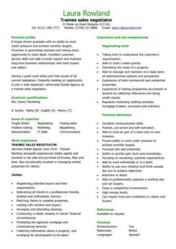 trainee sales negotiator CV template