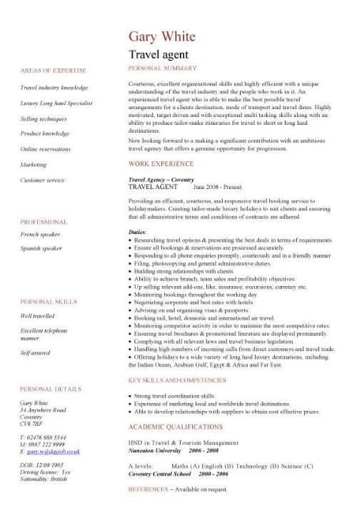 travel agency company profile sample resume