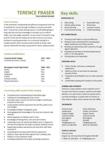 entry level truck driver resume template
