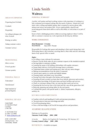 waitress CV template