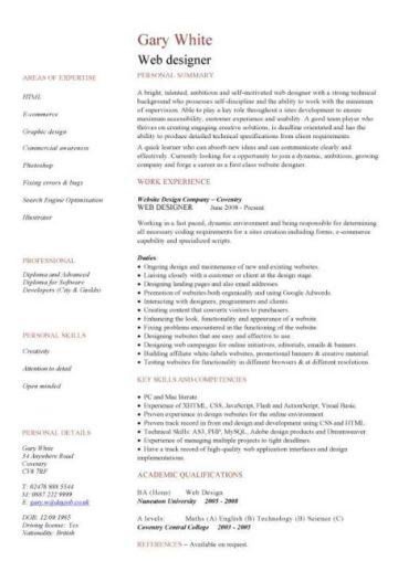 web designer cv template