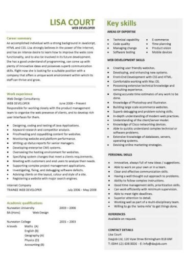 Web Developer Resume Example Cv Designer Template Development