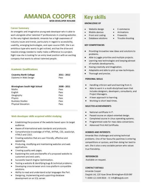 Student Entry Level Web Developer Resume Template