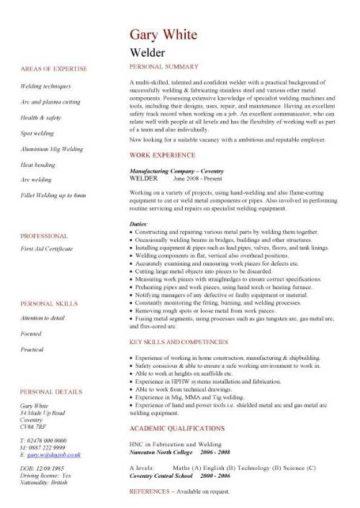 welder CV template
