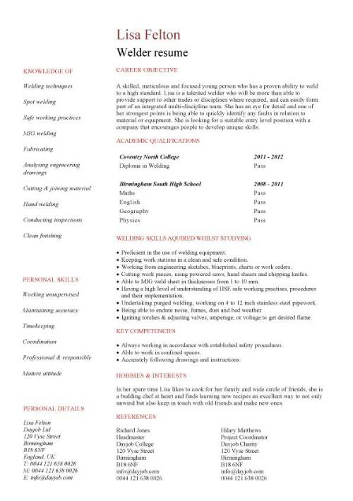 student entry level welder resume template