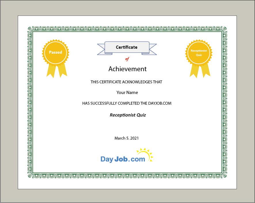 receptionist quiz certificate test