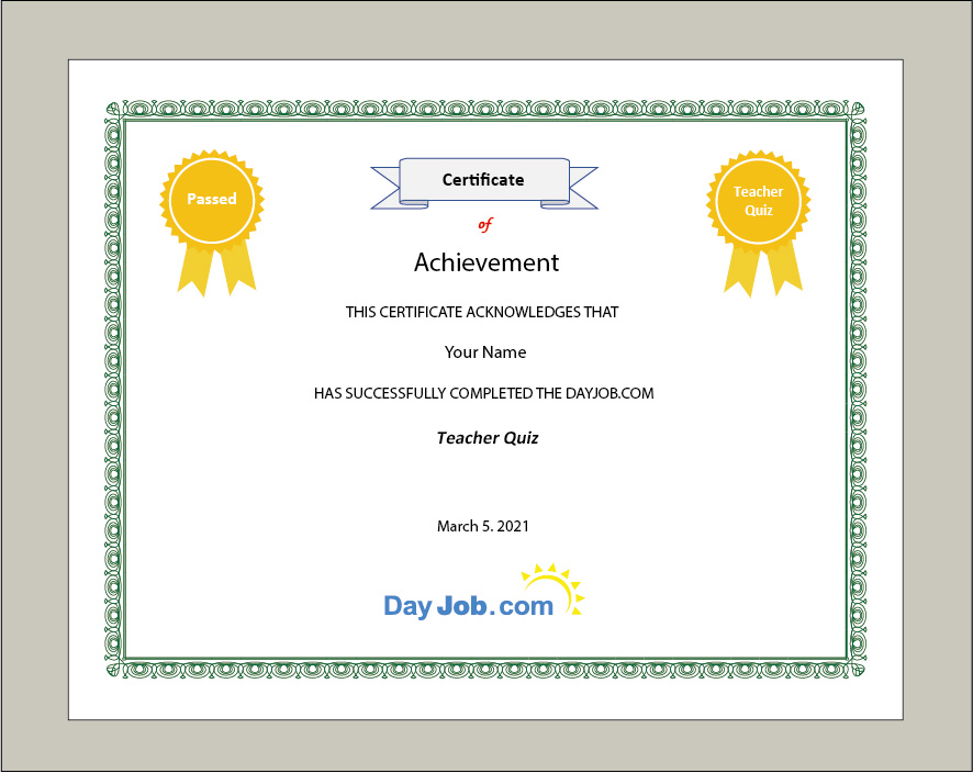teacher quiz certificate test