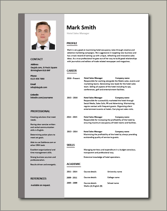 Free Hotel Sales Manager CV 1 - 1 page