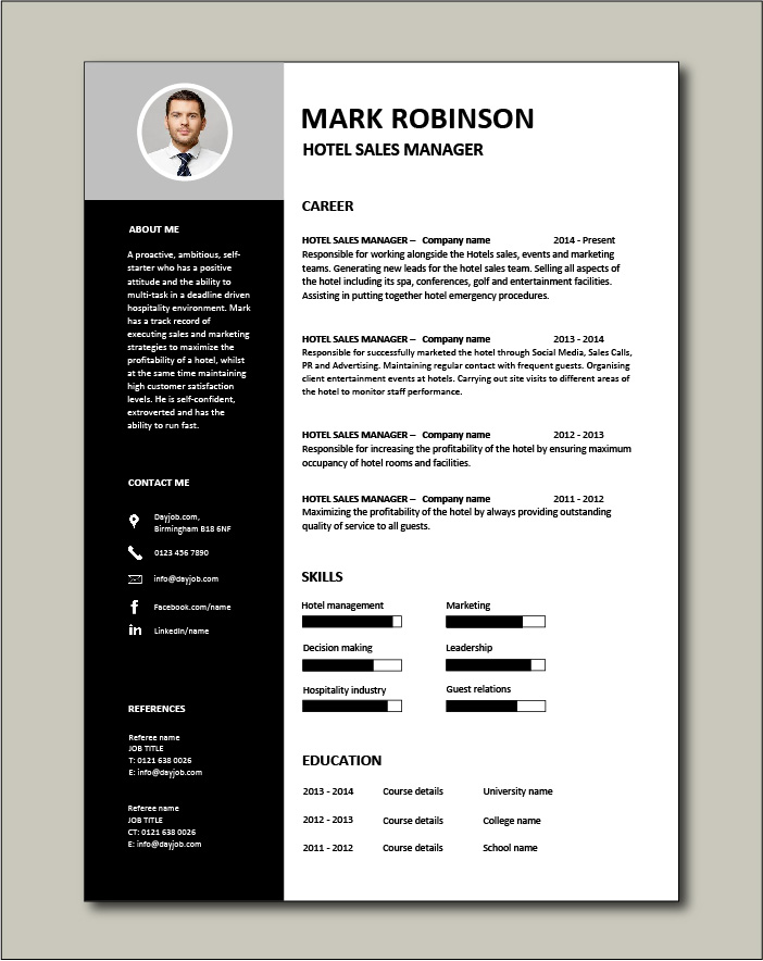 Free Hotel Sales Manager CV 3 - 1 page