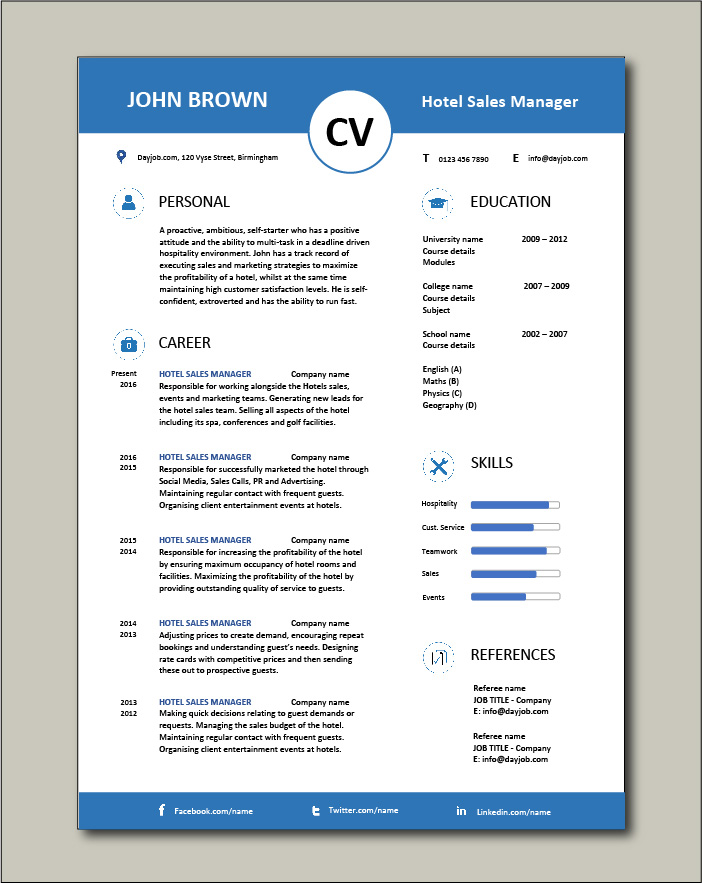 Free Hotel Sales Manager CV 5 - 1 page