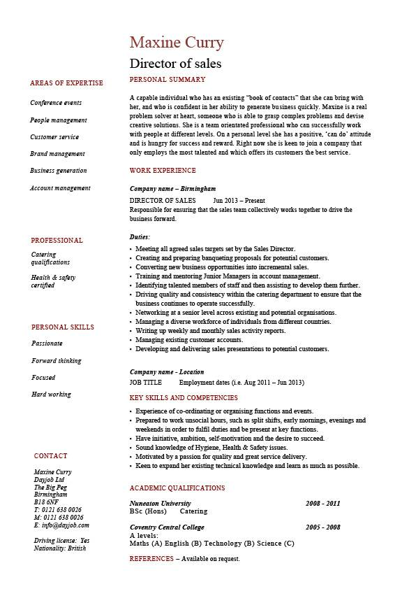 Director Of Sales Resume Sample Example Job Description