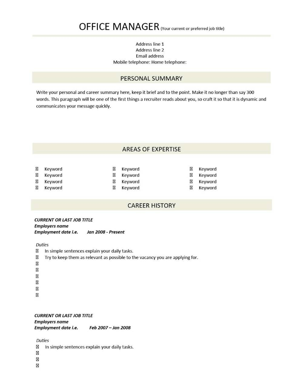 Cv Template Examples Writing A Cv Curriculum Vitae Templates Cv