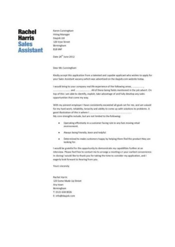 sales assistant cover letter 1