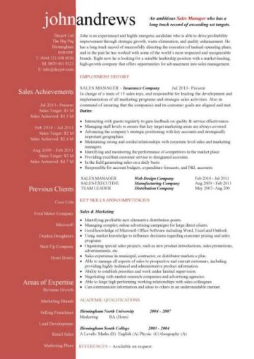 A superb Sales Manager CV template that will immediately show off your marketing skills.