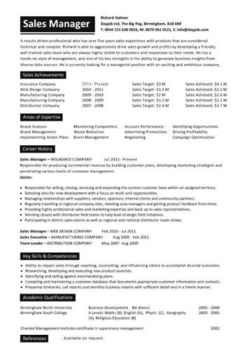 sales manager resume template 2 1