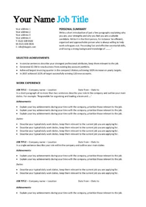 Achievements CV template