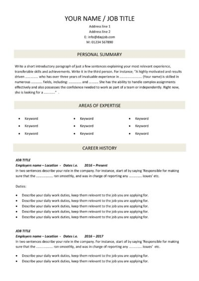 CV template download 3