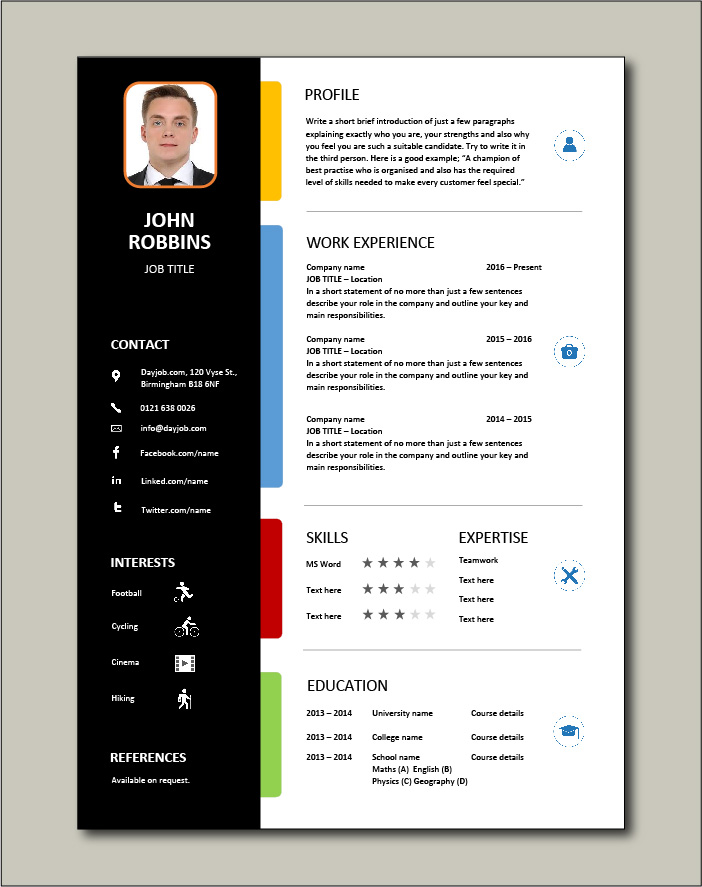 A CV template that uses colors to get attention