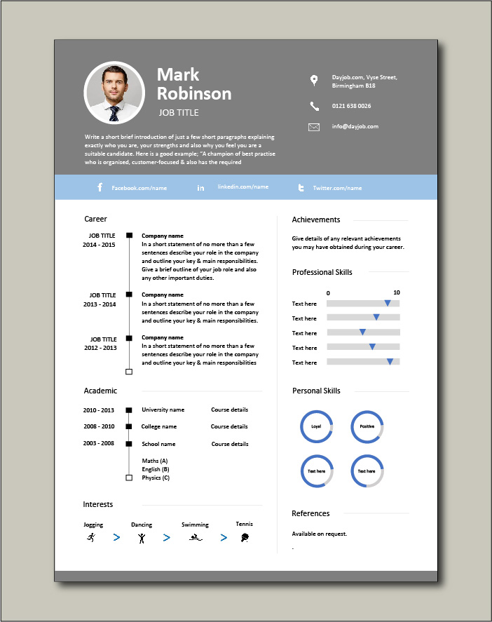 CV template with grey border at top