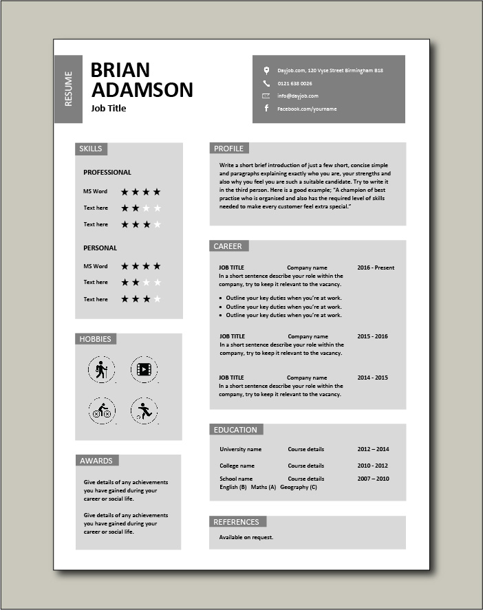 CV template that uses grey text boxes