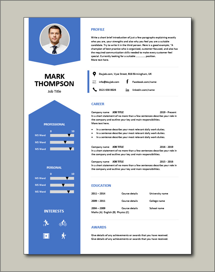 Arrows used in this CV template