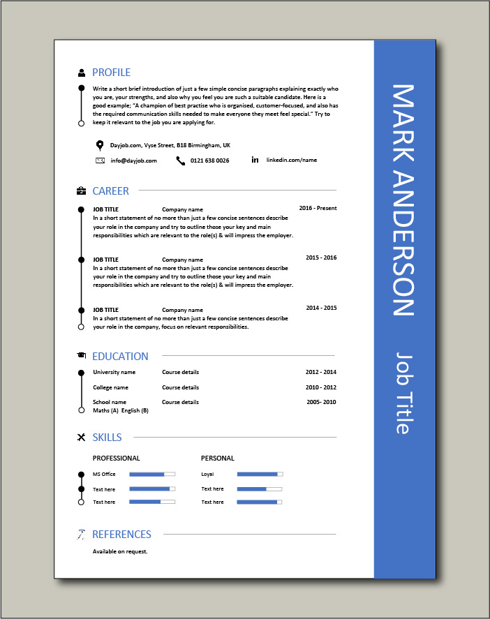 CV template with blue border