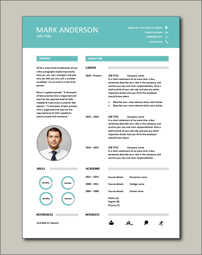 CV template with a photo