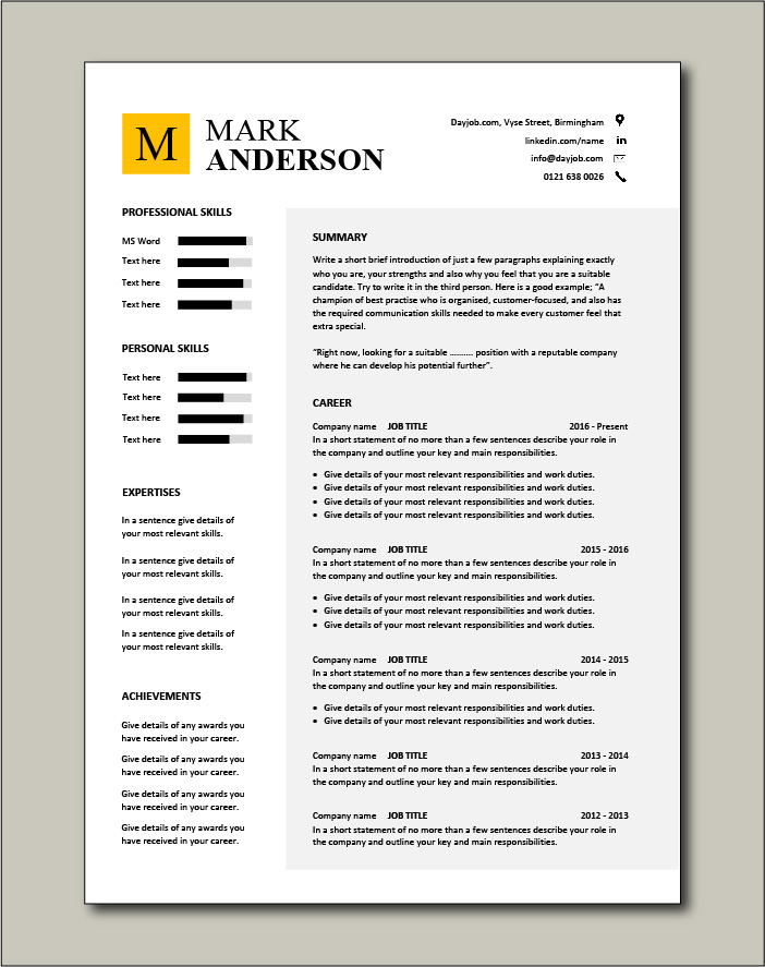 Highlight your skills with this CV template
