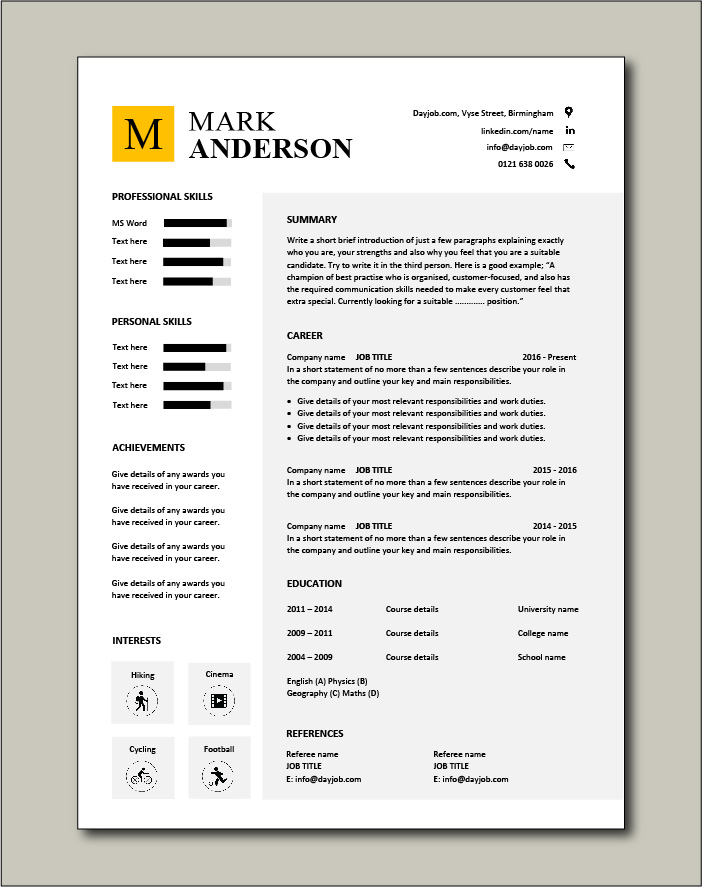 Text boxes used in this CV template