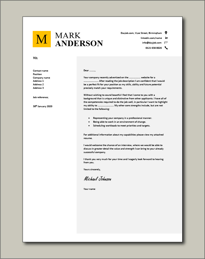 cover letter example to match your CV