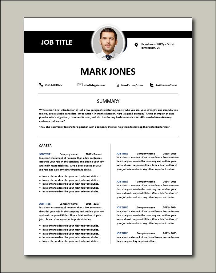2 page CV template version Dayjob.com