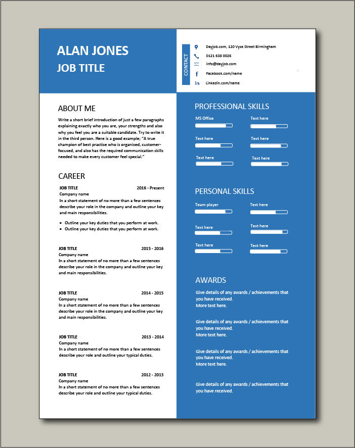 2 page CV template with blue layout